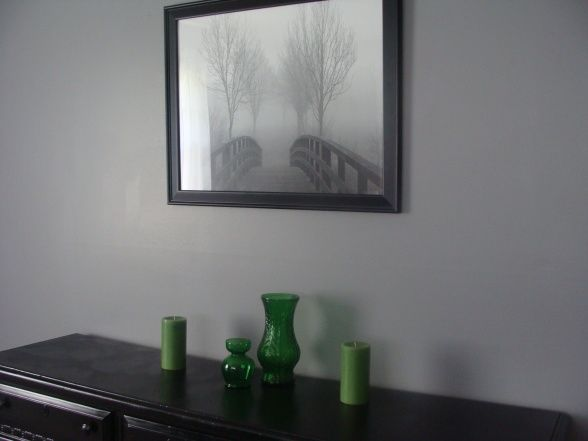 Glidden granite gray with emerald green accents redo - Grey and emerald green living room ...