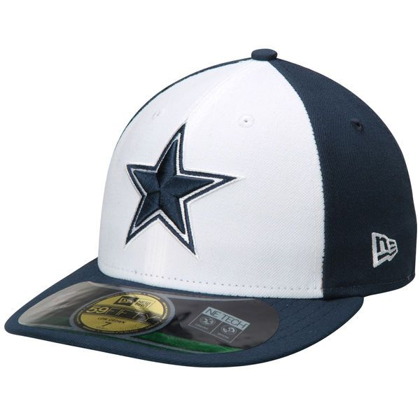 Mens Dallas Cowboys New Era Navy White Low Crown On Field 59FIFTY Fitted Hat