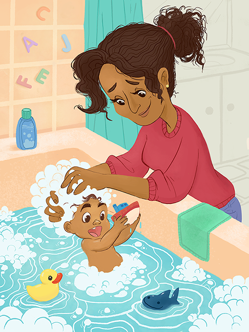 Bath Time Mother And Child Illustration Illustration Art