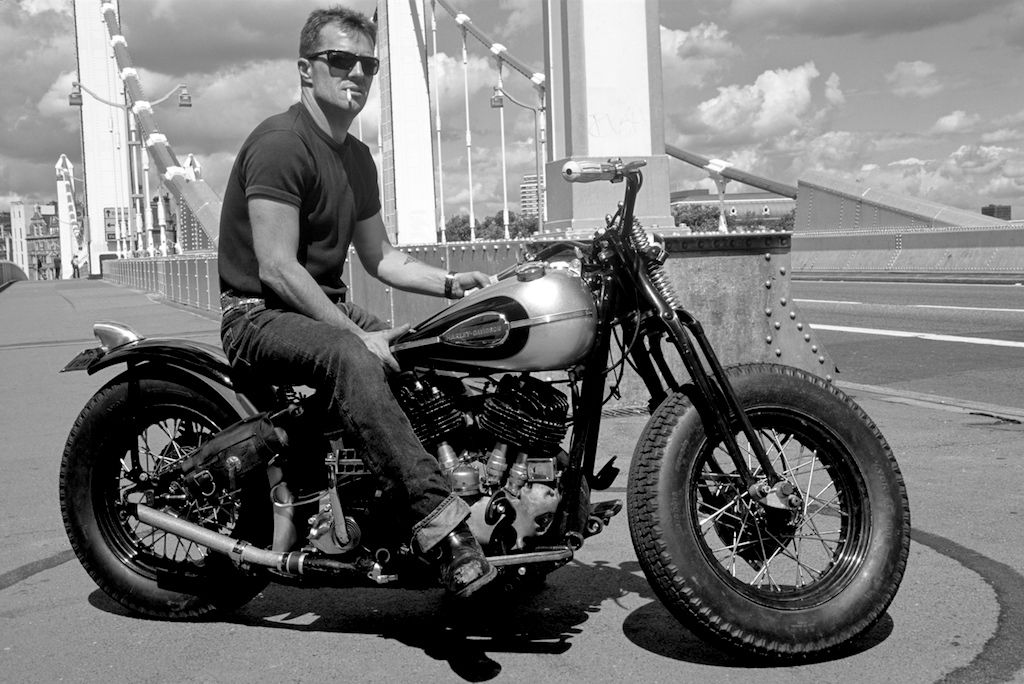 Huggy Leaver On His Harley Davidson Ul Big Twin Flathead