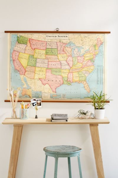Usa map school chart wall hanging walls room and dorm world map school chart wall hanging urban outfitters gumiabroncs Images