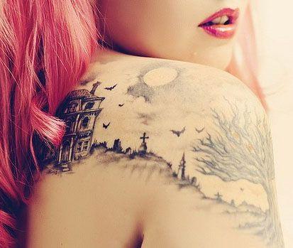 Haunted house tattoo