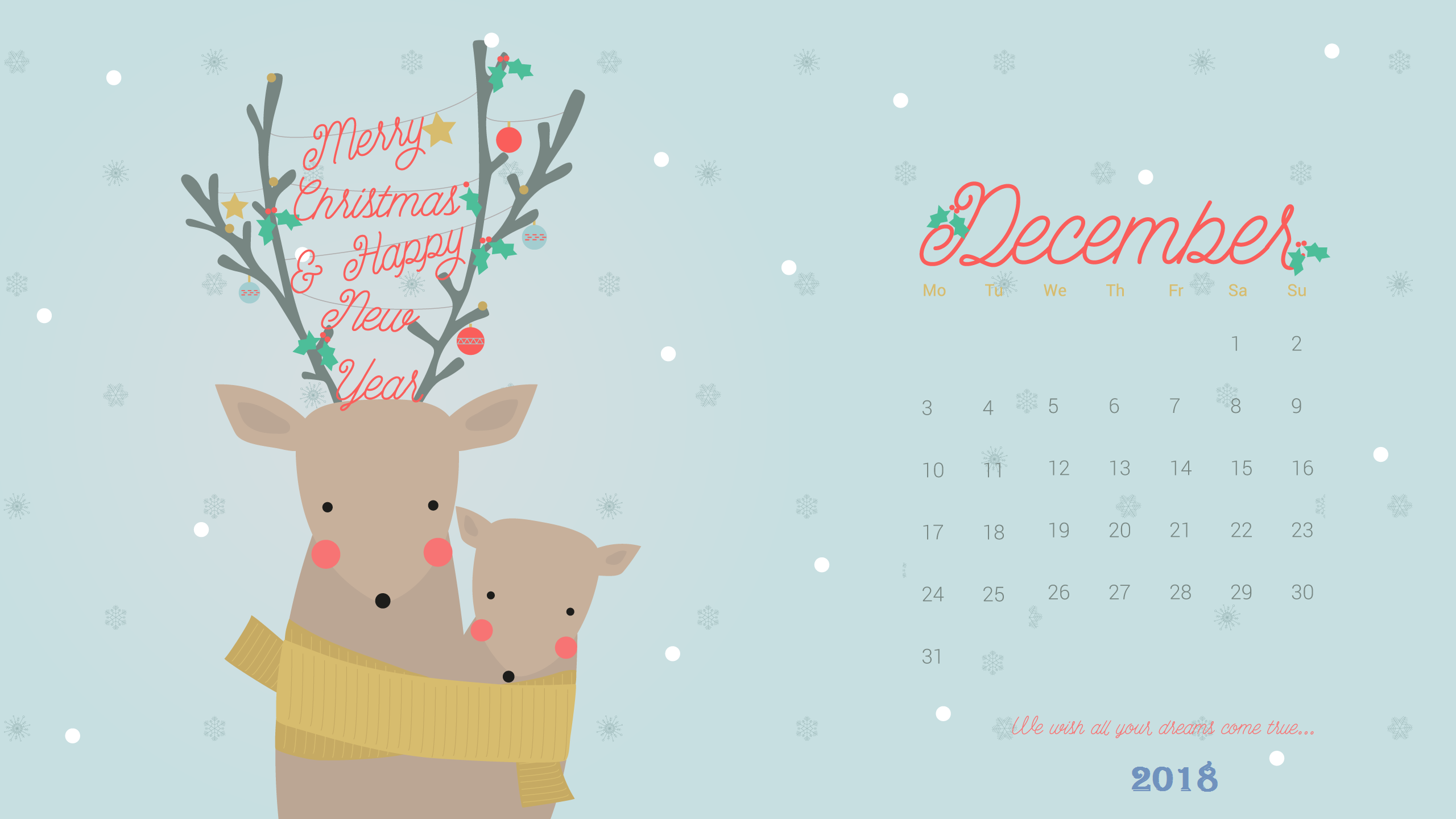 cute december 2018 desktop wallpaper | maxcalendars | desktop