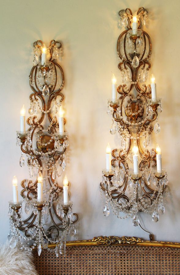 Incredible Rare Pair 4ft Italian Beaded Wall Sconces