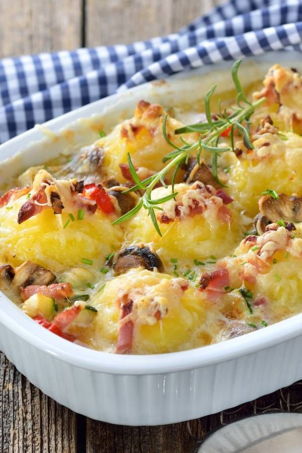 Photo of Hearty dumpling casserole with bacon and mushrooms
