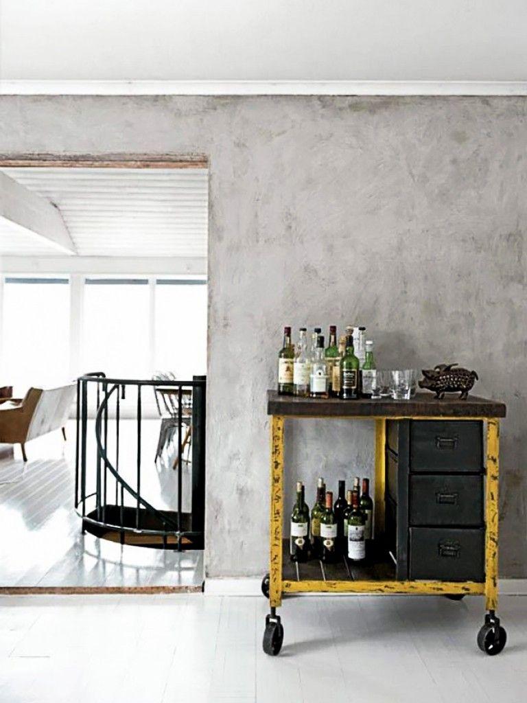 Aparador rustico com rodizio e parede de cimento casa decor