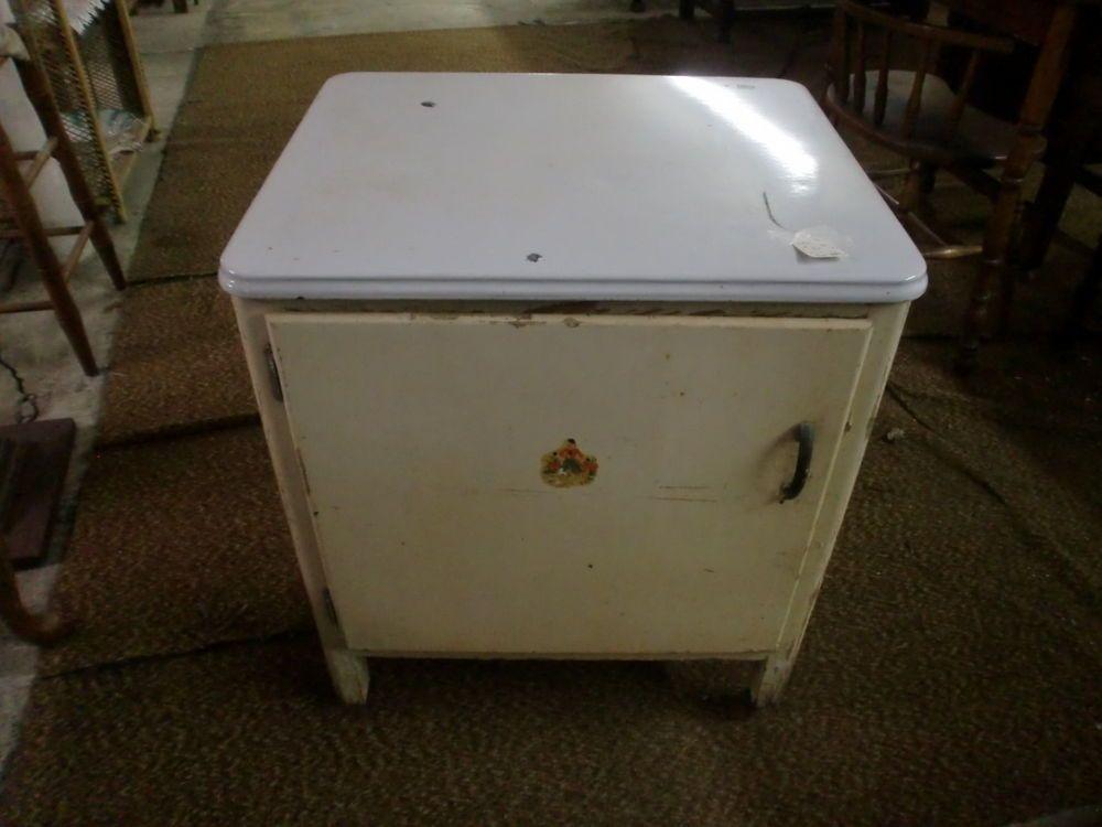 Vintage Original Old Finish Enamel Top Kitchen side Cabinet ...
