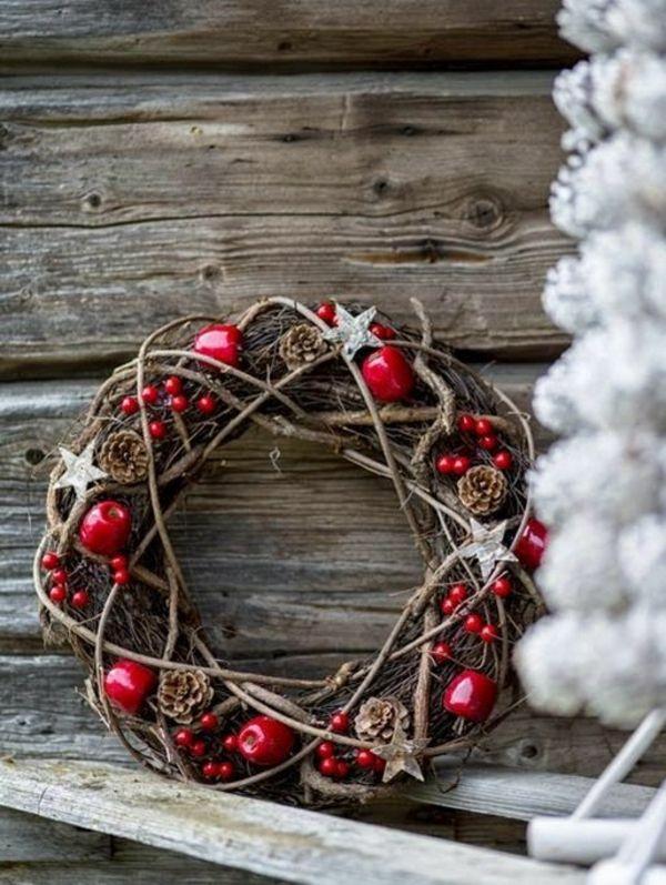 Adventskranz Stylish bastelideen adventskranz holz äpfel weihnachtsdeko
