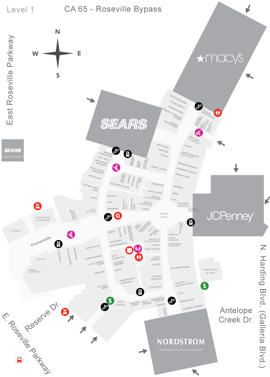 Westfield Galleria at Roseville Mall Map | My Christmas List ...