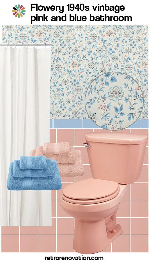 13 Ideas To Decorate A Pink And Blue Tile Bathroom Blue Bathroom Tile Retro Pink Bathroom Retro Bathrooms