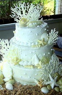Beautiful beach themed wedding cake.♥