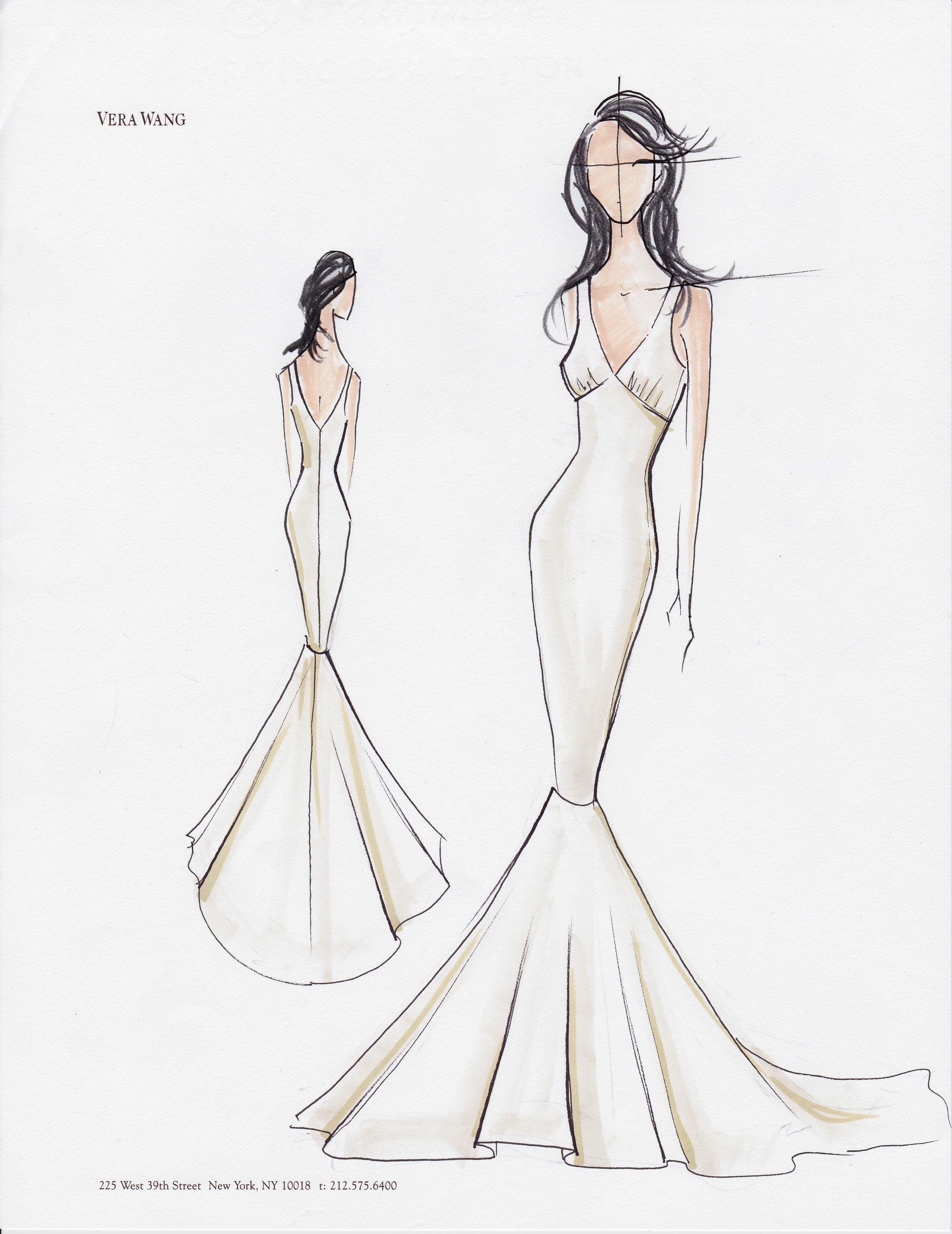 Fashion sketches new fashion sketches - Wedding Dress Fashion Sketch Custom Wedding Dress Custom Drawing Vera
