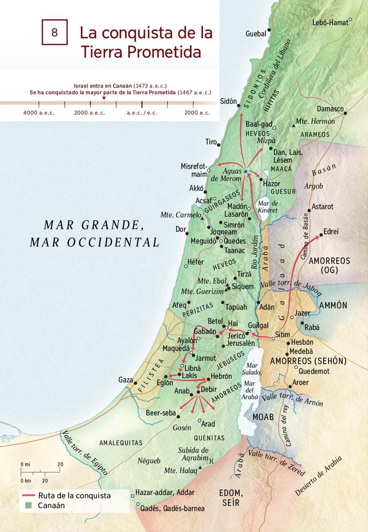 8 La Conquista De La Tierra Prometida Biblioteca En Línea Watchtower Tierra Prometida Temas De La Biblia Mapas