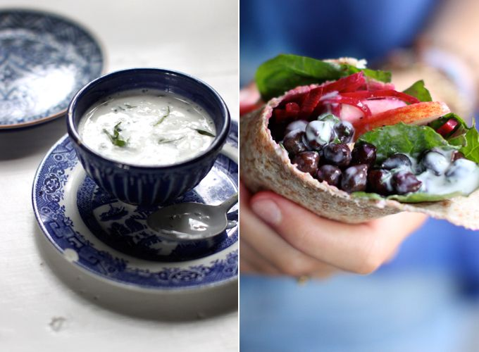 Black Chickpea Wraps with Tarragon Yogurt