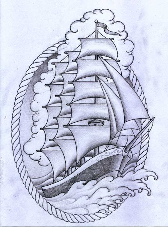 Ship tattoo by ~TeroKiiskinen on deviantART