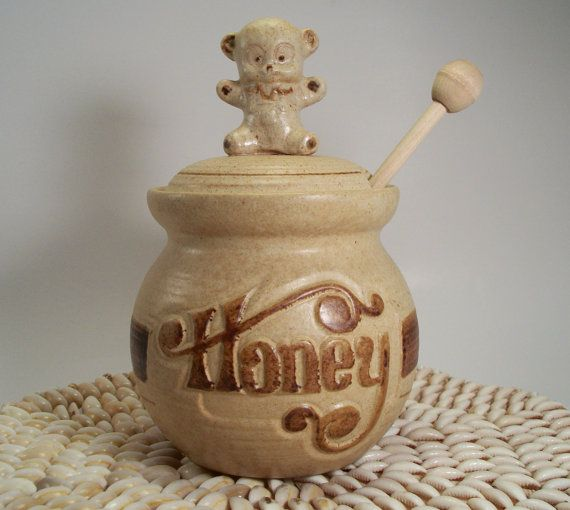 Pottery Craft Honey Pot Jar With A Very Cute Teddy Bear On The Lid It Still Has Original Wooden Spindle Stands High To Rim Across