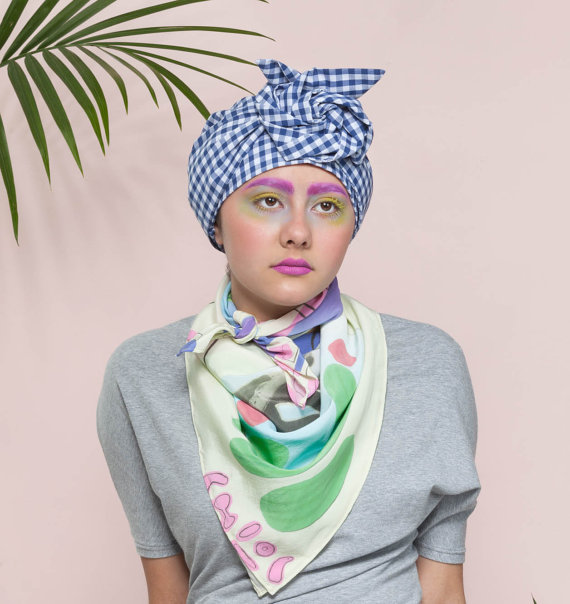 Turban cotton gingham by cutandsewn on Etsy