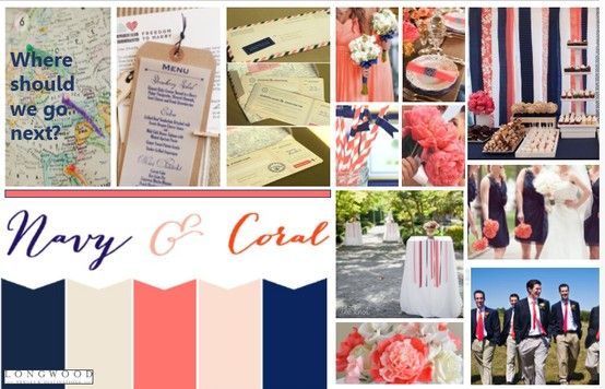 Navy and Coral Inspiration Board #travel #navywedding #coralwedding #wedding