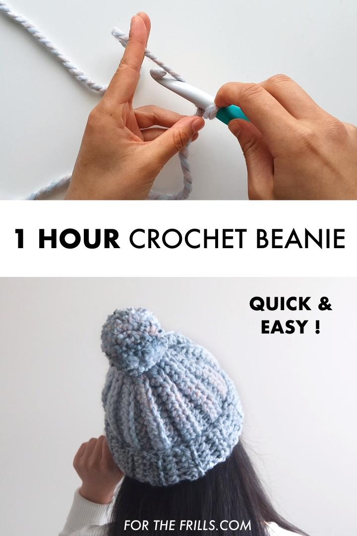 One Hour Crochet Beanie – Beginner Free Crochet Pattern + video tutorial