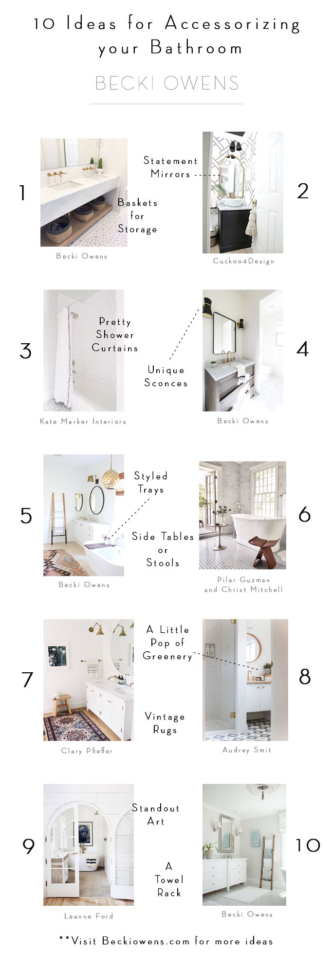 Photo of 10 Ideas for Accessorizing your BathroomBECKI OWENS