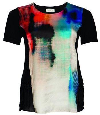 Chalou Marken-T-Shirt für Damen mit Batik Bunt Schwarz – Bild 1