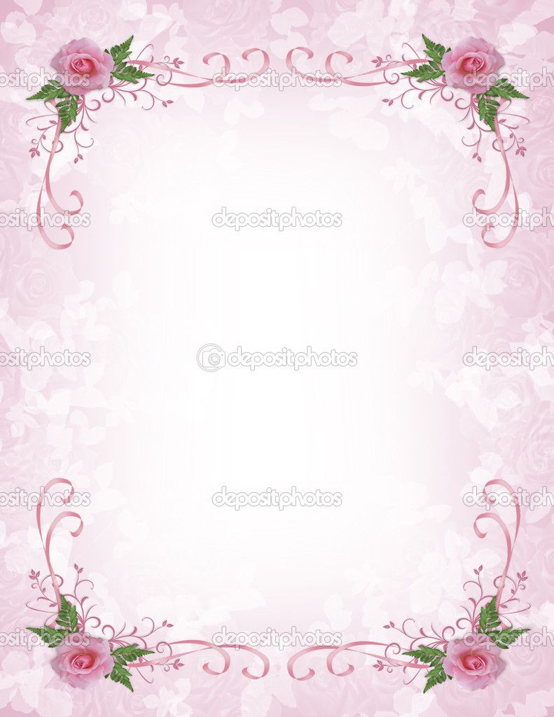 Pink Floral Borders Pink Roses Invitation Border Stock Photo