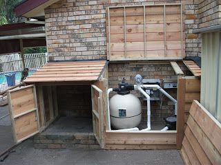 Landscaping Ideas To Hide Pool Equipment pool landscape plants dress up in ground and above ground pools Hide The Pump Storage For Pool Equipmentchems