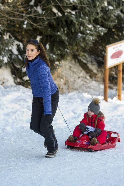 Princess Mary of Denmark and Princess Josephine of Denmark attends the Danish Royal family annual skiing photocall whilst on holiday on February 8, 2015 in Verbier, Switzerland.