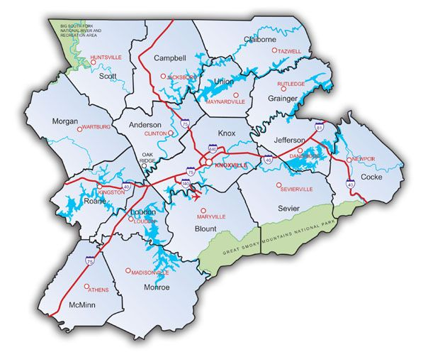 Lakes In East Tennessee Map   Map Map Of Region