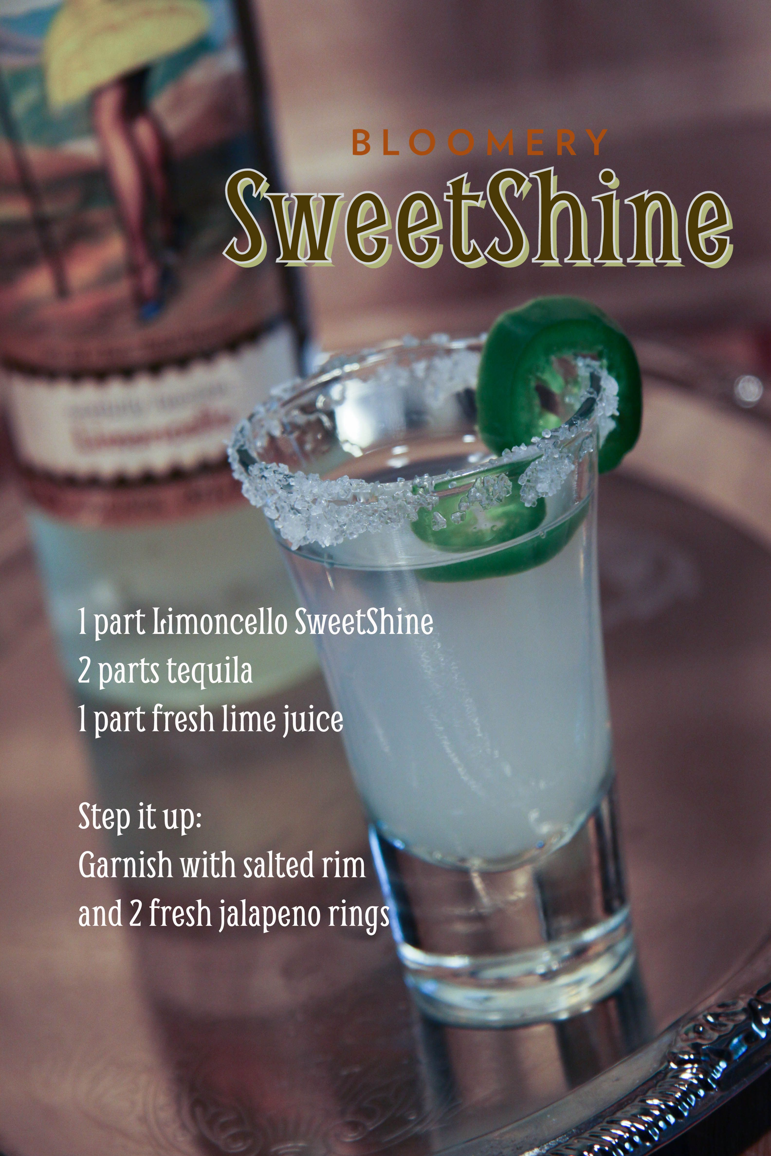 SweetShine, cocktail, moonshine, mixology, Limoncello, tequila, recipe, gluten free  www.bloomerysweetshine.com