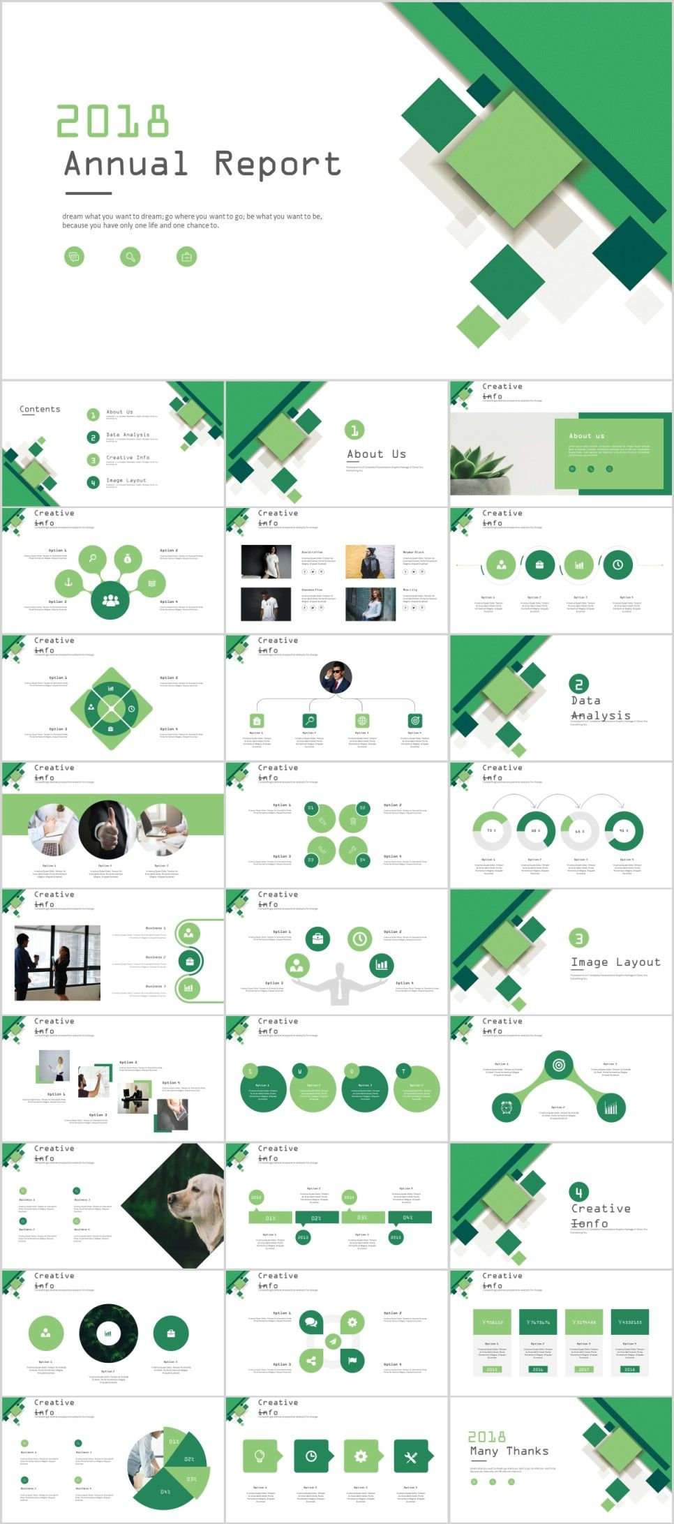 28 green business annual report charts powerpoint template page