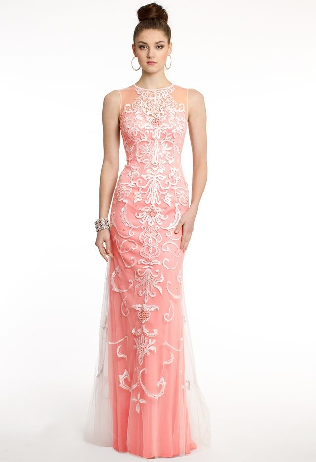 Chiffon Dress With Illusion and Appliques from Camille La Vie and ...