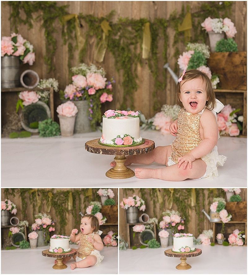 Floral Themed Cake Smash Michelle Voigt Photography Bryan