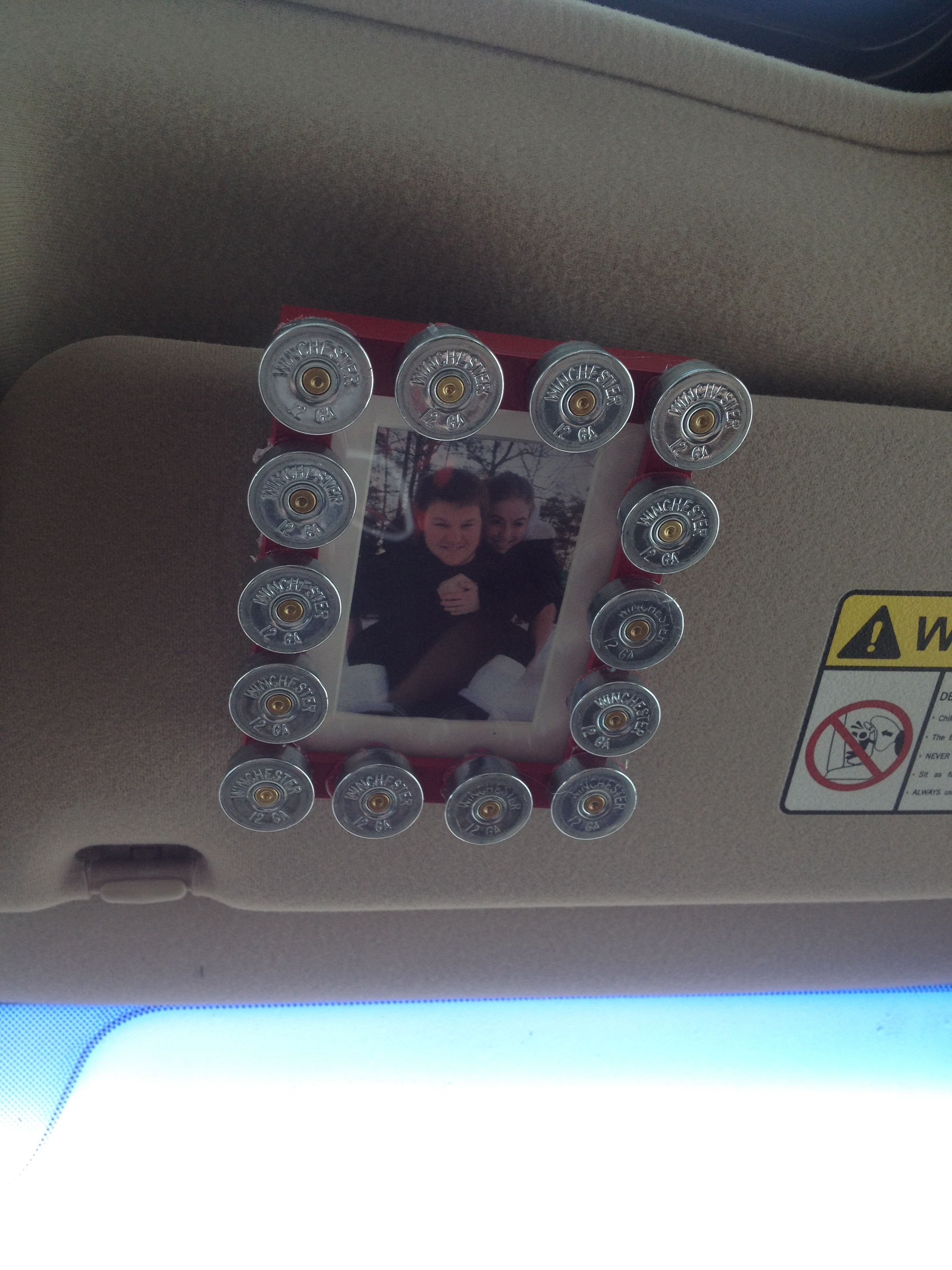 Car visor shotgun shell picture frame I made my boyfriend for ...