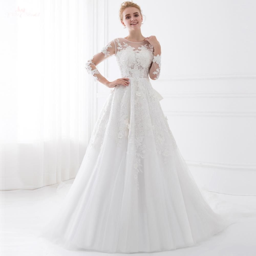 TW0207 Special Train See Through Vintage Lace Long Sleeve Wedding ...