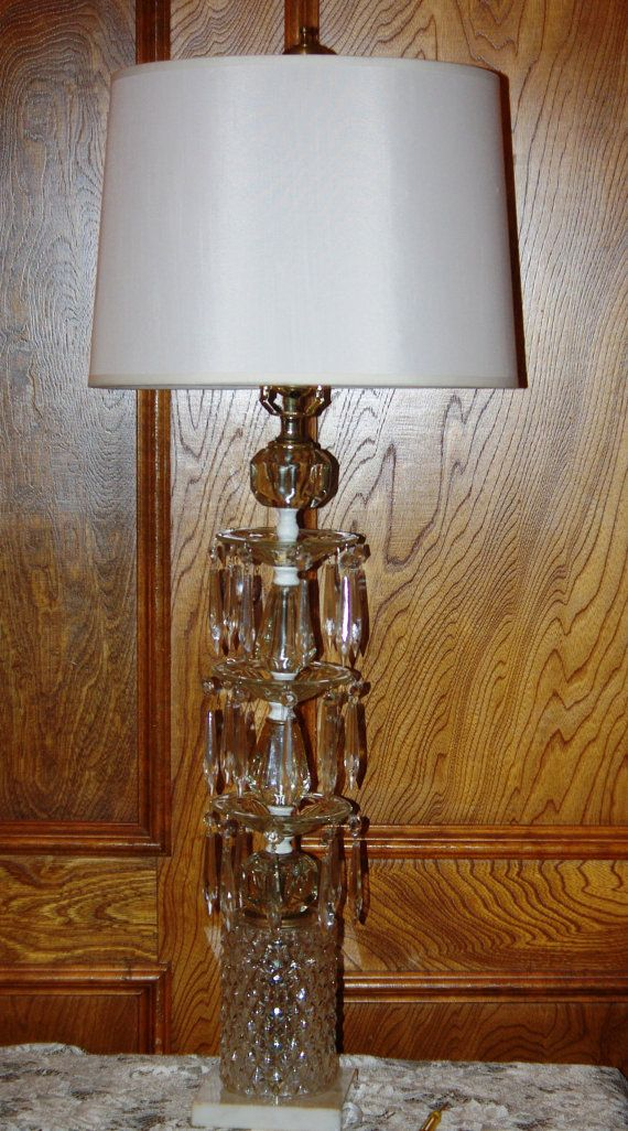 Vintage Large Crystal 3 Tier Table Lamp With By Suzscollectibles Crystal Table Lamps Vintage Large Lamp