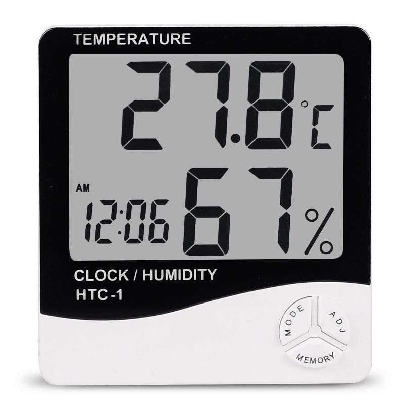 Htc 1 Digital Lcd Electronic Alarm Clock Thermometer Hygrometer Weather Station Indoor Room Table Home Decor Digital Thermometer Digital Alarm Clock Clock