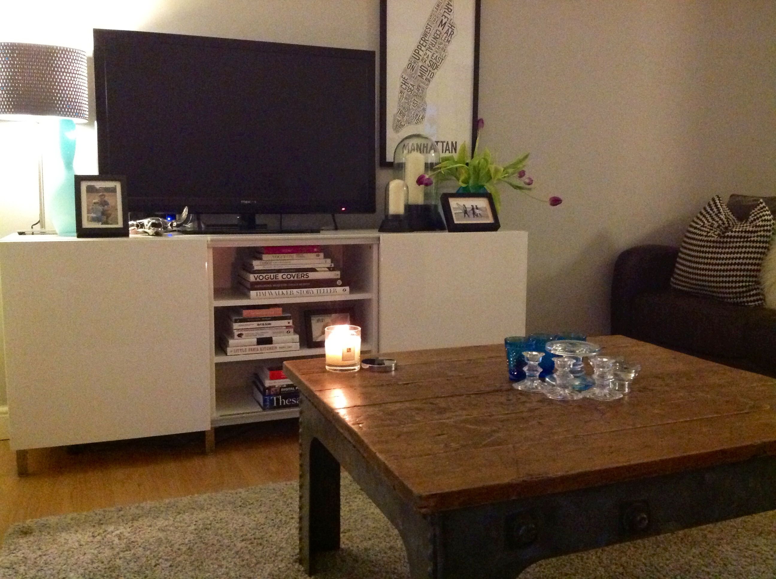 White gloss side board and salvage coffee table My home
