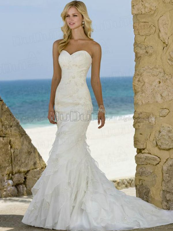 Mermaid/Trumpet Organza Sweetheart Strapless Lace-up Sweep Beading ...