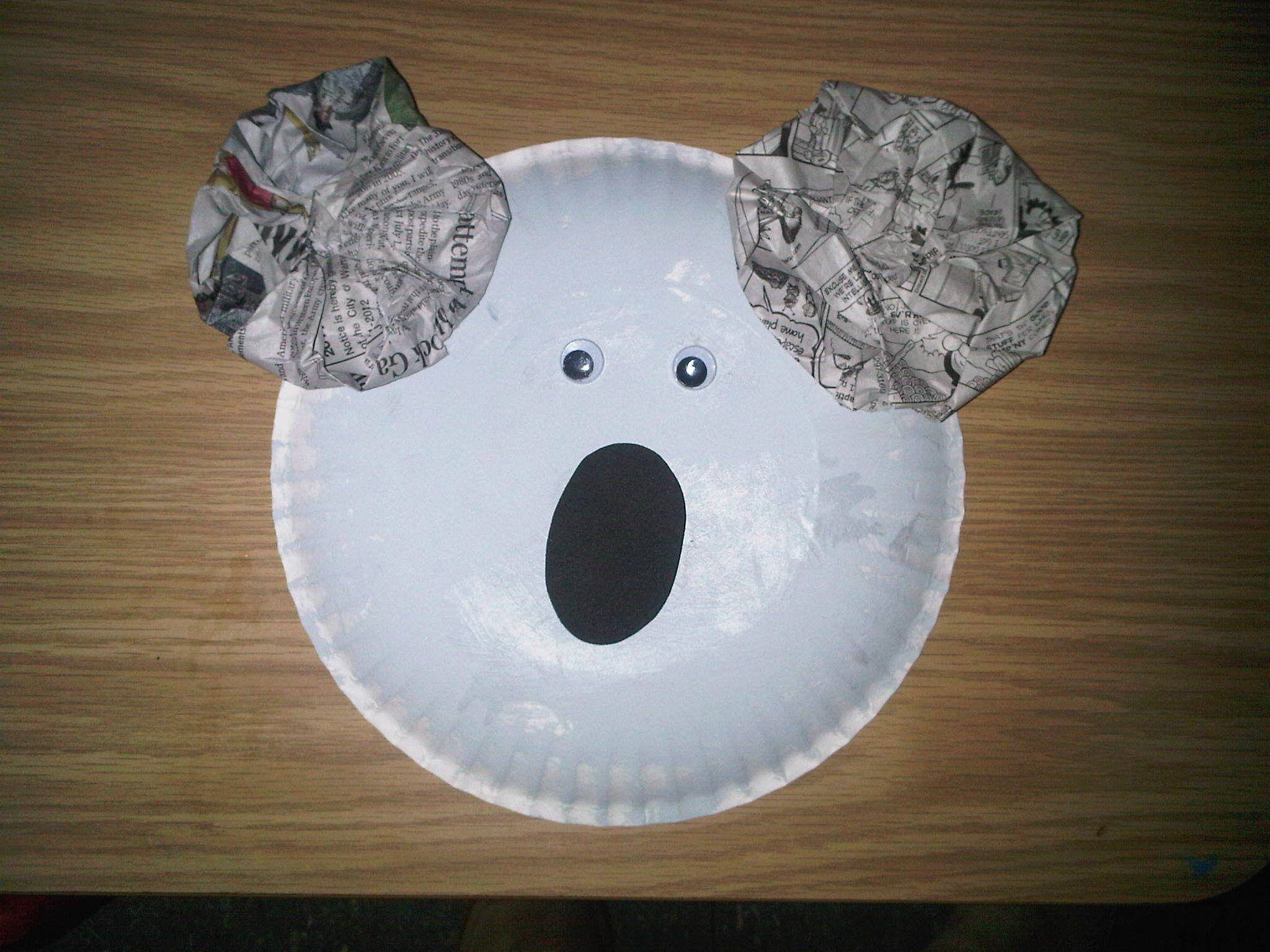 Paper Plate Koala Bear With Newspaper