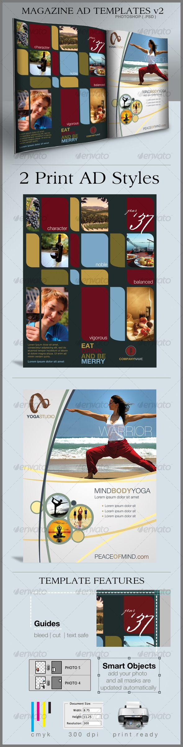 Version 2 of the Popular Print Ad Templates for full page magazine ...