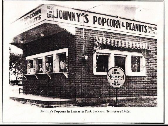 Johnny's Popcorn and Peanuts in Lancaster Park in the 1940s, Jackson, #Tennessee #History Source: Tennessee Artifacts and History on FB