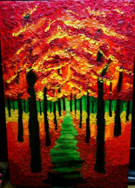 Autumn Forrest melted crayon art | Food/drink | Pinterest | Cuadro ...