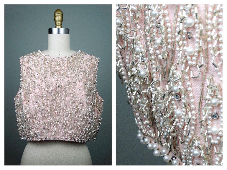Vintage Rhinestone Pearl Beaded Crop Top Heavily Embellished Silver Beaded Pale Pink Top W Pearls Beaded Crop Top Embellished Crop Top Pale Pink Tops