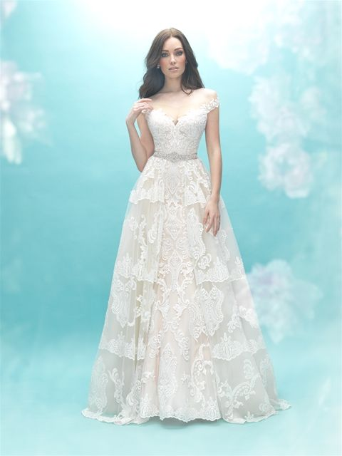 Allure Bridal - off the shoulder wedding dress in lace. Style: 9474T ...