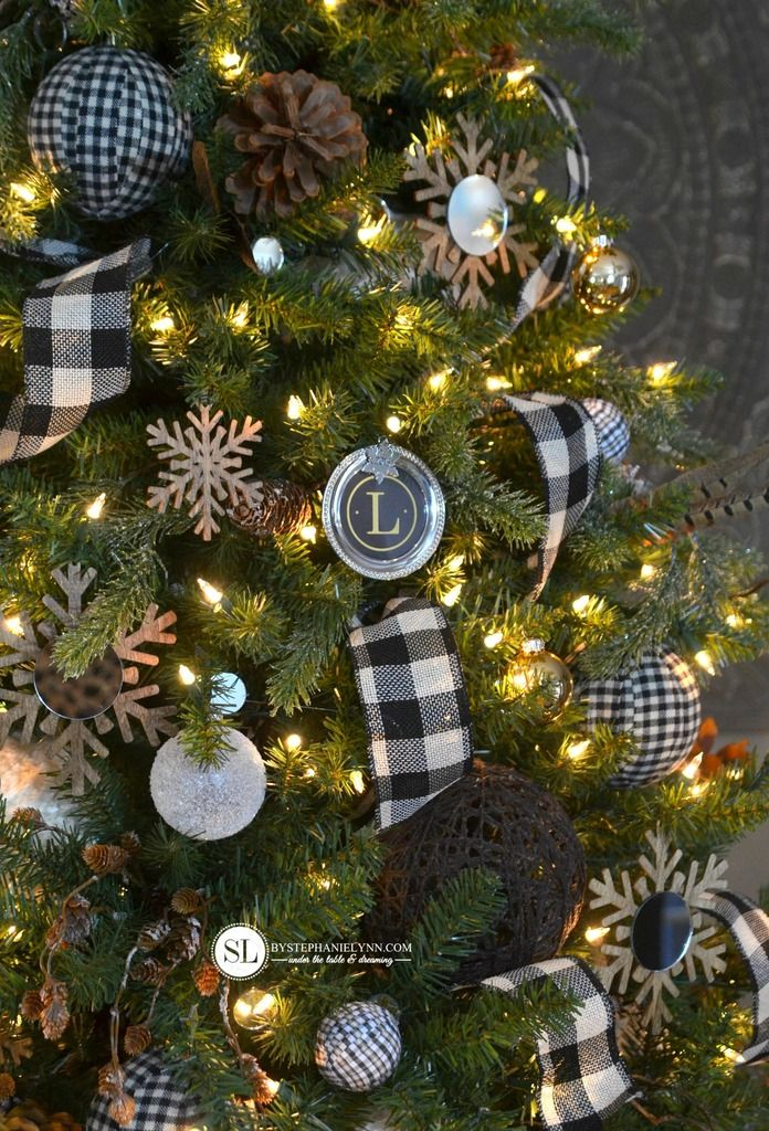 Black And White Plaid Buffalo Check Christmas Tree 2015 Michaels Dream Tree Challenge Bystephanielynn Plaid Christmas Tree Christmas Decorations Christmas Tree Themes