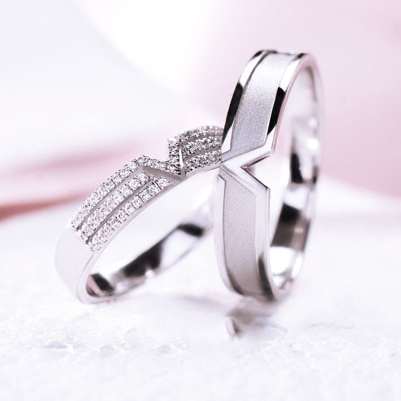 2019 New 925 Sterling Silver Platinum Plated Cubic Zirconia Lovers Rings Sterling Silver Wedding Rings Fashion Rings Silver Wedding Rings