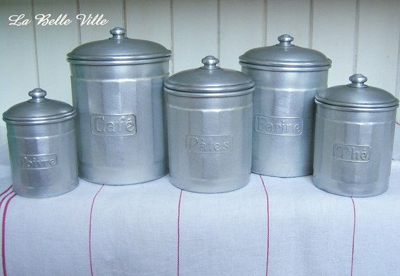 Vintage French aluminium canisters 1940s kitchen by LaBelleVille - Pepper, Coffee, Pasta, Flour and Tea