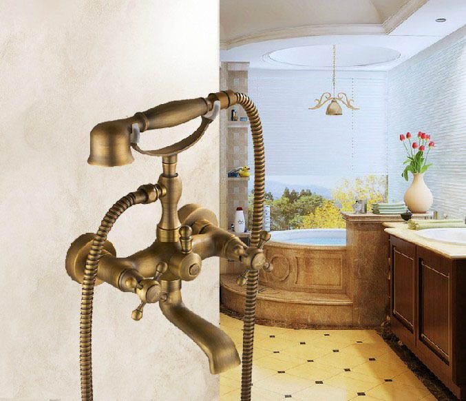 Antique Brass Phone Shape Bathtub Faucet Mixer Tap Hand Shower + Sprayer  Holder#hand Shower