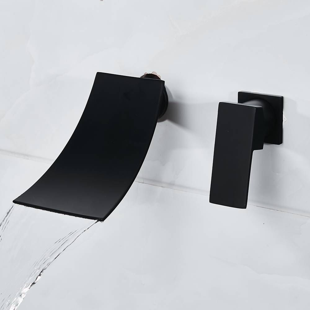 Bathtub Faucet Chrome/Black Brass Wall Mount Waterfall Bathroom Faucet Big Square Spout Single Lever Vanity Sink Mixer A1007